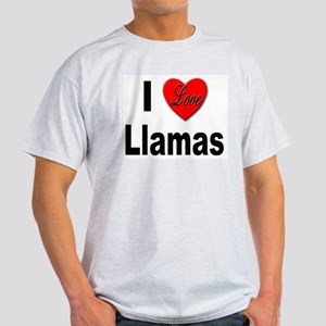 I Love Llamas (Front) Ash Grey T-Shirt