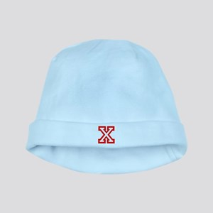 X - RED CAPITAL LETTER ATHLETIC MONOGRAM Baby Hat