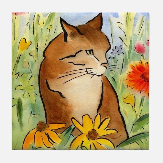 Orange Stripey Tabby Cat Tile Coaster