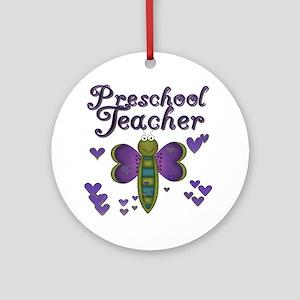 Butterfly Preschool Teacher Ornament (Round)