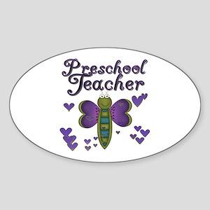 Butterfly Preschool Teacher Oval Sticker