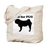 P is for PUG Tote Bag