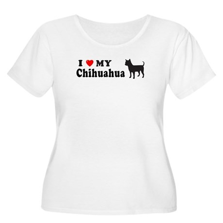 CHIHUAHUA-SIL Womens Plus-Size Scoop Neck T