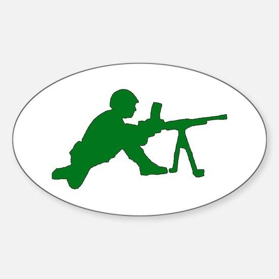 Machine Gunner Toy Soldier Oval Decal