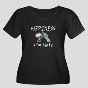 Happy Agility Dog Women's Plus Scoop Dark Tee