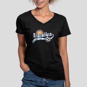 Argentina Soccer Women's V-Neck Dark T-Shirt