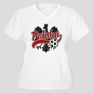 Polska Soccer Women's Plus Size V-Neck T-Shirt