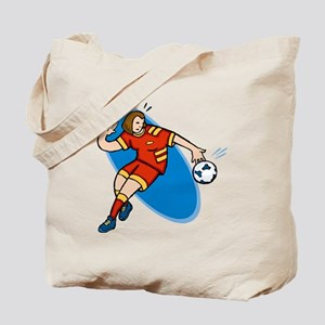 Soccer Girl - red/yellow Tote Bag