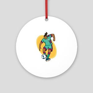 Soccer Girl - Green/Purple Ornament (Round)