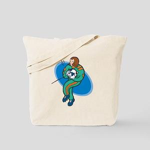 Soccer Girl - Teal/Orange Tote Bag
