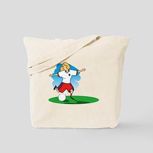 Kicking Soccer Girl Tote Bag