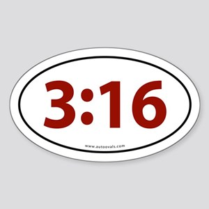 John 3:16 Euro Bumper Oval Sticker -Red Letter