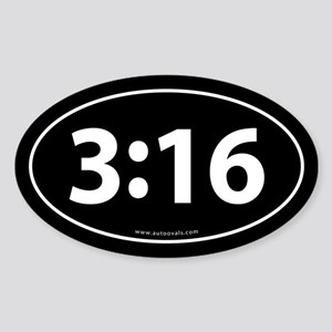 John 3:16 Euro Bumper Oval Sticker -Black