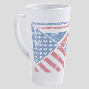 British American Flag 17 oz Latte Mug
