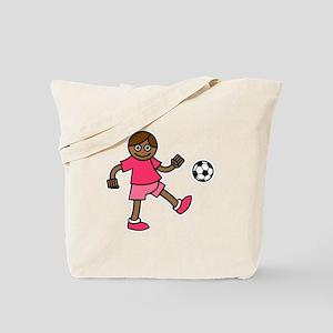 Pink Soccer Girls Tote Bag