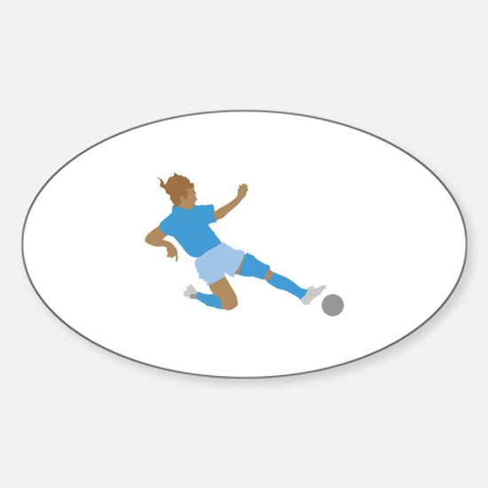 Pink Soccer Girls Oval Decal
