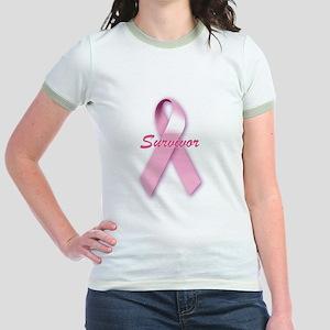 Breast Cancer Survivor Ribbon Jr. Ringer T-Shirt