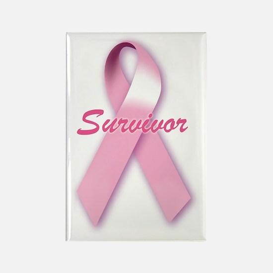 Breast Cancer Survivor Ribbon Rectangle Magnet