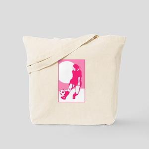 Pink Soccer Girl Logo Tote Bag