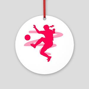 Pink Soccer Girl Logo Ornament (Round)