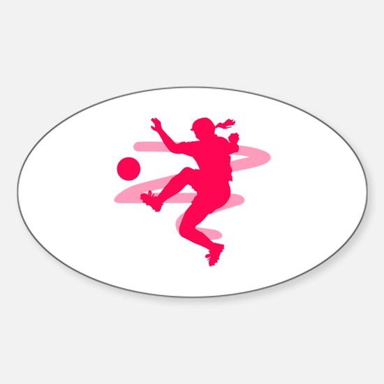 Pink Soccer Girl Logo Oval Decal