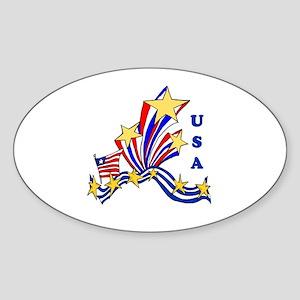 USA Stars and Stripes Oval Sticker