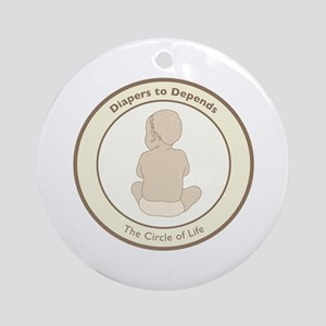 """""""Diapers to Depends"""" Ornament (Round)"""