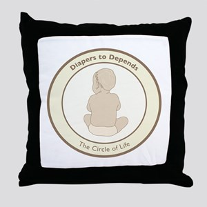 """Diapers to Depends"" Throw Pillow"