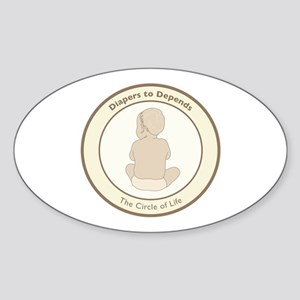 """""""Diapers to Depends"""" Oval Sticker"""