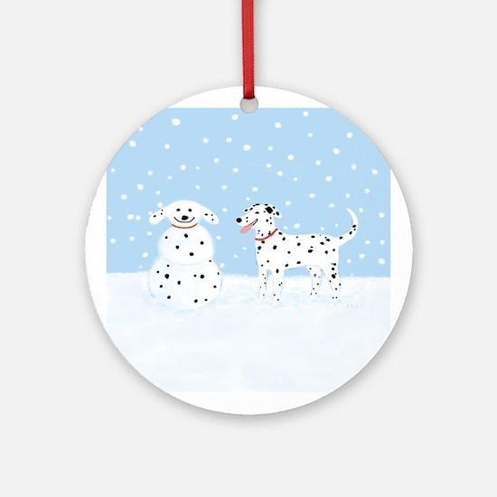 Dalmatian Snow Dog Ornament (Round)