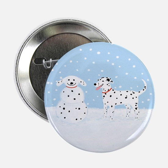 """Dalmatian Snow Dog 2.25"""" Button"""
