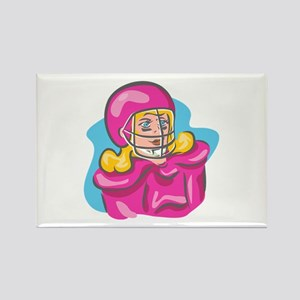 Football Girl in Pink Rectangle Magnet