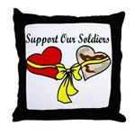 2 hearts Support Our Troops Throw Pillow