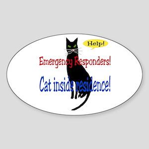 Single Cat Alert Oval Sticker
