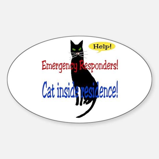 Single Cat Alert Oval Decal