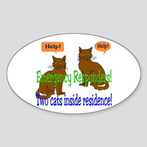 Two Cat Alert Oval Sticker