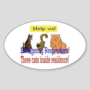 Three Cat Alert Oval Sticker