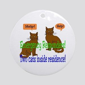 Two Cat Alert Ornament (Round)