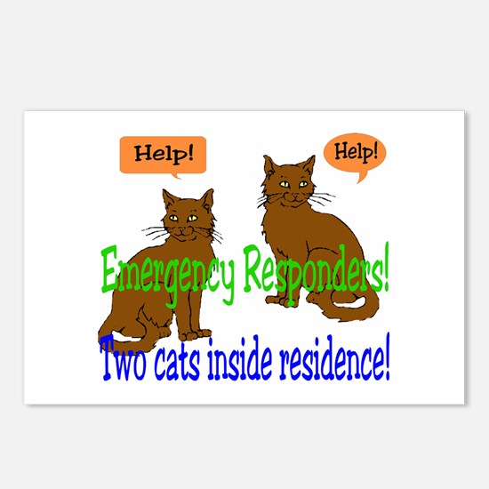 Two Cat Alert Postcards (Package of 8)
