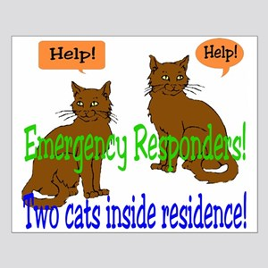 Two Cat Alert Small Poster