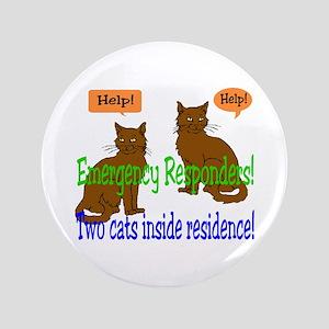 "Two Cat Alert 3.5"" Button"