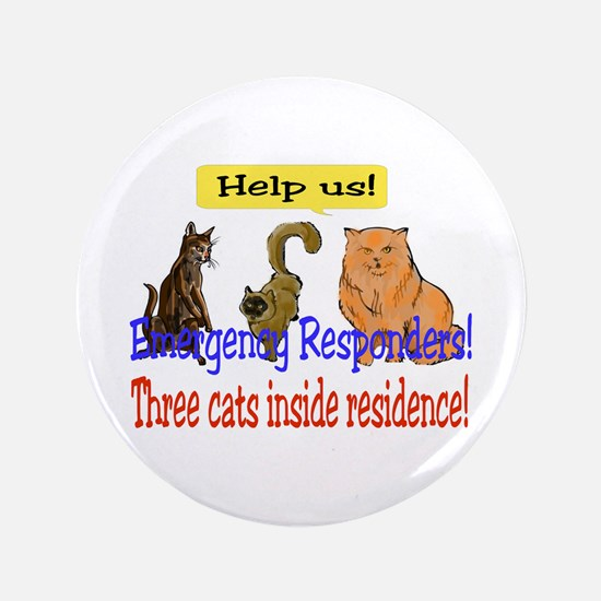 "Three Cat Alert 3.5"" Button"