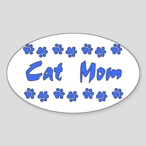 Cat Mom Oval Sticker