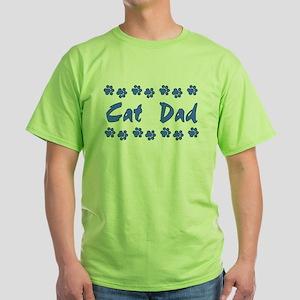 Cat Dad Green T-Shirt