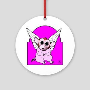 Flying Pig Monkey Ornament (Round)