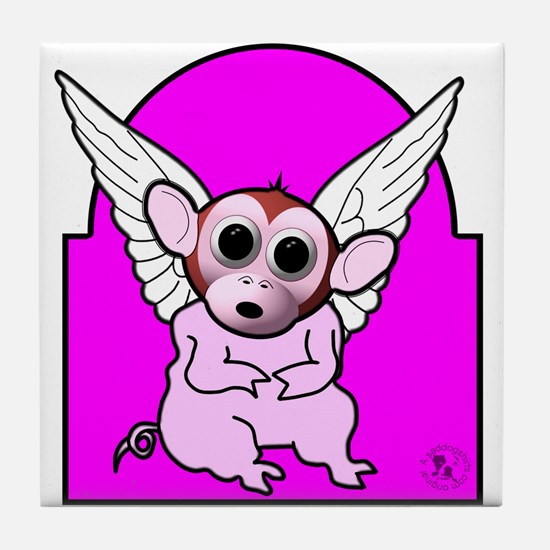Flying Pig Monkey Tile Coaster