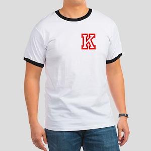 K- RED CAPITAL LETTER ATHLETIC MONOGRAM C Ringer T