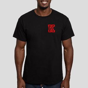 K- RED CAPITAL LETTER Men's Fitted T-Shirt (dark)