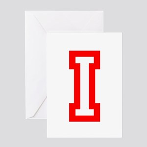 I - RED CAPITAL LETTER ATHLETIC MONO Greeting Card