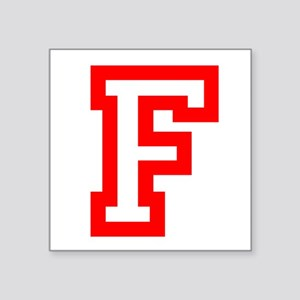 "F - RED CAPITAL LETTER ATHL Square Sticker 3"" x 3"""